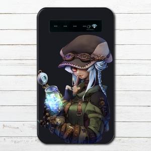 #018-003 モバイルバッテリー おすすめ iPhone Android かわいい おしゃれ 男性 向け 女の子 イラスト スマホ 充電器 タイトル:Secret plan パターン2 作:フライ・フローライト(共作)