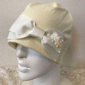 片側お花モチーフとリボンのケア帽子 レモンイエロー
