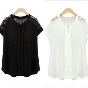 【取寄せ】 Vネック Aライン 半袖 シースルー Tシャツ ワントーン ドレープ