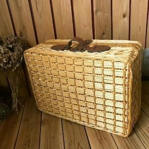 ≫古いウィローピクニックバスケットトランク*カゴ籠かごバッグ*自然天然ナチュラルかばん収納ヴィンテージアンティークアウトドアキャンプ