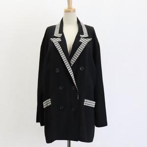 Vintage  80's USA【Asriel】Plover pattern Black Double Jacket  アメリカ【アズリエル】80年代 ヴィンテージ 千鳥柄 テーラードダブルジャケット