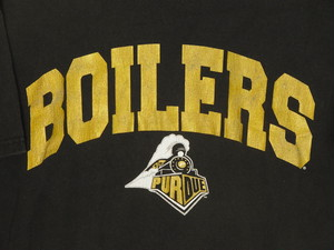 USA古着プリントTシャツL黒BOILERS PURDUE片面 綿100美品