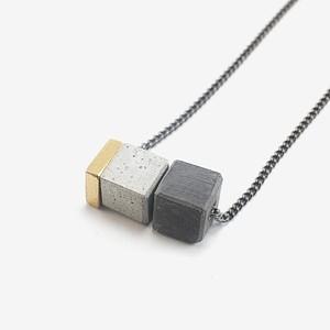 BAZK Square Stone Black Chain Necklace BAZK スクエア ストーン ブラック チェーン ネックレス メンズ レディース ユニセックス ショート〜ロング 〈送料無料〉