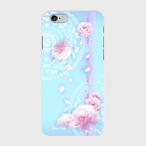 【iPhoneシリーズ】Peony Dream 芍薬の夢 ライトブルー ツヤありハード型スマホケース