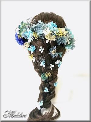 豪華 ヘッドドレス 47本セット* ピンポンマム 紫陽花 かすみ草 プリザーブドフラワー 成人式 結婚式 髪飾り