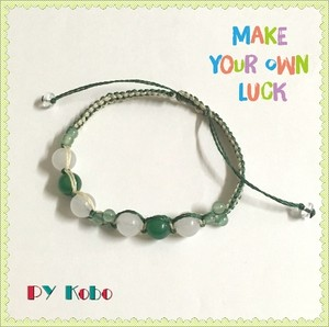Green Agate and White Jade clover bracelets