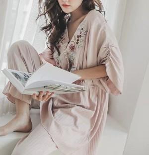 マタニティー授乳口付きフラワー刺繍ルームウェア☆