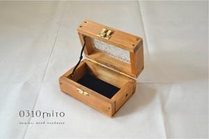 0310 国産ひのきとレトロガラスのケース(花柄フローラガラス)Sサイズ