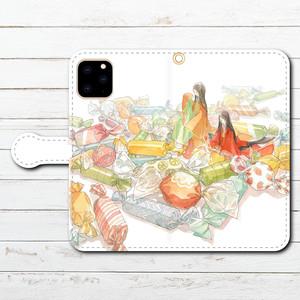 #081-035 iPhoneケース スマホケース 手帳型 全機種対応 おしゃれ 和風 iPhone11 Pro Max Xperia 5 ケース 人気 女子 Google Pixel 4 AQUOS sense3 タイトル:「いとお菓子」 作:嘉村ギミ