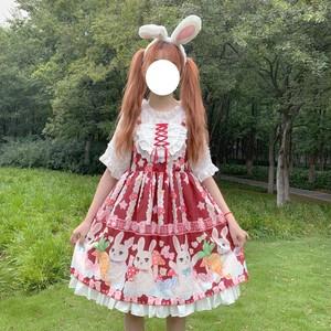 【セットアップ】日系lolitaプリントスウィートワンピース+シャツ二点セット