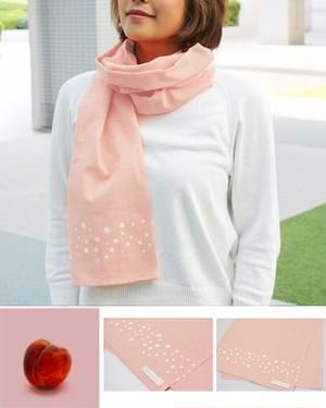 温感手ぬぐいスカーフ【Arareピンク】100%国産天然綿 和晒生地使用