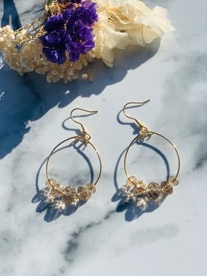 Crystal&Gold Hoopピアス