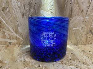 コバルトロックグラス 青色 源河源吉琉球ガラス
