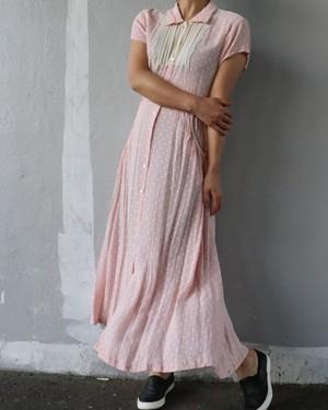 pink dot long dress