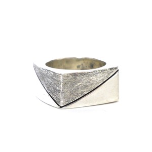 Vintage Sterling Silver Mexican Square Shape Brushed Ring