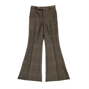 JOHNLAWRENCE SULLIVAN CHECK FLARE TROUSERS BROWN