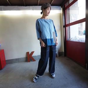 デニムパッチワーク パッチワーク七分袖  BIGTシャツ 03S102 サイズ2