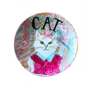 【UPCYCLE】 DECOPAGE PLATE しろねこ