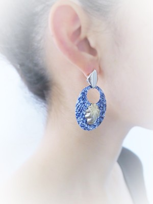 vintage pierced earrings denim shell <PE-dnSH>