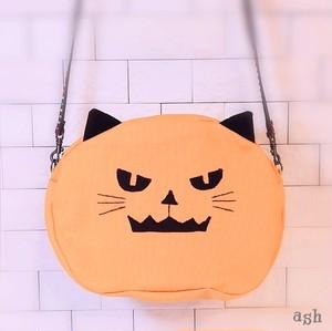 オバケかぼちゃの猫さん 斜め掛けバッグ ハロウィンパーティに連れてって♪