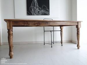 オールドチークダイニングテーブルL 食卓テーブル 机 チーク材 手作り 天然木 木製 ナチュラル 銘木 総無垢 和風 幅180cm × 奥行き89cm