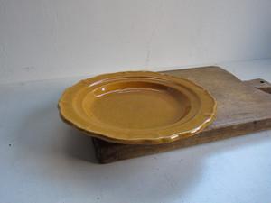 19c 南仏 黄茶釉のディナープレートb