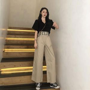 【セットアップ】春夏ファッションカジュアルアルファベットハイウエストパンツ+無地ジッパー半袖シャツセットアップ