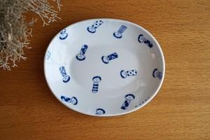 砥部焼/楕円リム付皿/コケシ/森陶房kaori