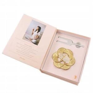 サウンドヒーリングクリスタルセット フラワーオブライフクリスタルディッシュセット ゴールド/クリアクオーツ  Tuning Fork and Flower of Life Crystal Dish Set