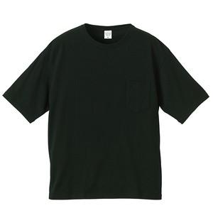 ビックシルエット Tシャツ(ポケット付) 無地 5.6オンス  ブラック