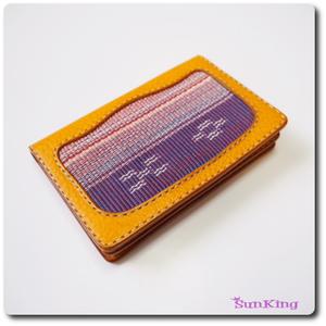 カードケース/名刺入れ 八重山ミンサー織(太陽綾) ヌメ革 アリゾナ