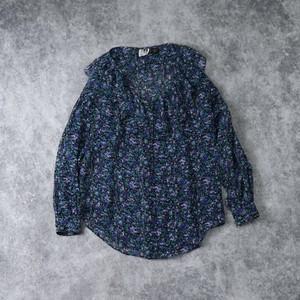 レディース 80年代 花柄 襟フリル ラッフルカラー シフォンブラウス アメリカ古着 ポリエステル ブラック M