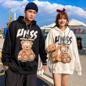 【トップス】熊図柄長袖ファッションフード付きパーカー34310555