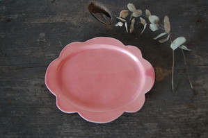 おはなプレート 【小/ももいろ】|wakako ceramics