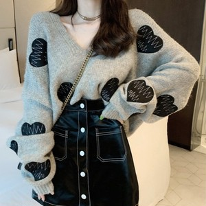 【トップス】気質スウィートゆったりVネックハート柄合わせやすいニットセーター
