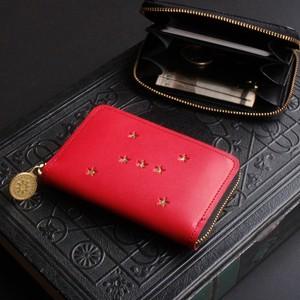 ラウンドファスナーミニ財布(ORION ルビー)革  レディース メンズ  ILL-1166