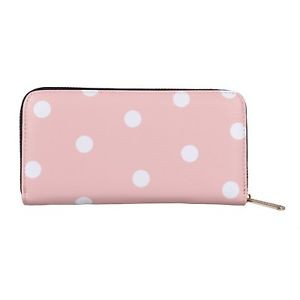 【送料無料】ウサギステッチクラッチピンクdamara womens cat amp; rabbit stitching spotty clutch traval wallet,pink