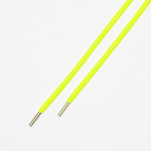 """ROPE LACES SOLID/METAL TIP """"NEON YELLOW/METAL SILVER"""""""