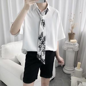 【メンズファッション】カジュアル半袖シングルブレストPOLOネックネクタイ付きシャツ31032968