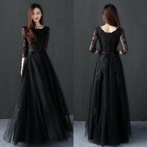 大特価 新作 七分袖黒ロングパーティードレス ブラック 結婚式フォーマル