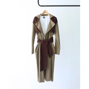 【TAN】 Color Combi Coat