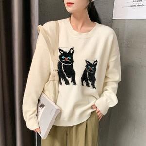 【トップス】長袖韓国風カジュアルラウンドネックセーター