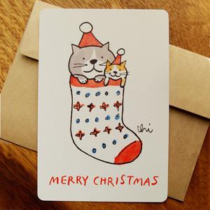 クリスマスグリーティングカード「くつした・いっしょ」封筒付