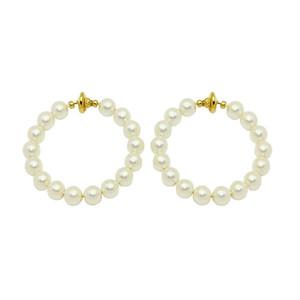 pearl hoop earring -L