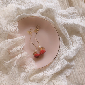 Cherry Red Rose & Gold Line ( ピアス・イヤリング )