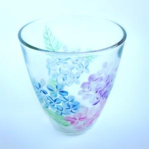 【紫陽花】5月の花 アジサイ絵付けグラス1個/父の日ギフト・誕生日プレゼント