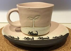 パステル 黒猫コーヒー碗皿【黒ねこお散歩♪美濃焼】