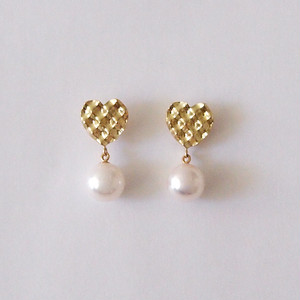 Heart-Pearl earrings/moku moku シリーズ