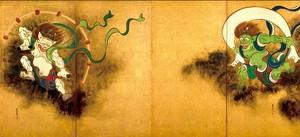 尾形光琳作「風神雷神図屏風」(※高精細複製画)(4曲1隻 H695×W1682)