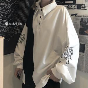 【トップス】大活躍韓国系POLOネックボタンアルファベットプルオーバーシャツ41645589